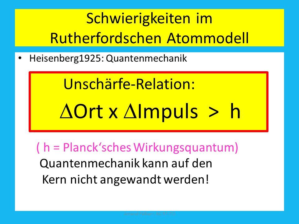 Schwierigkeiten im Rutherfordschen Atommodell A ungleich Z Rutherford: Kern = Z Protonen + (A-Z) (p + e - ) Doch: Blei Z = 82; A = 207,2; Amand Fäßler