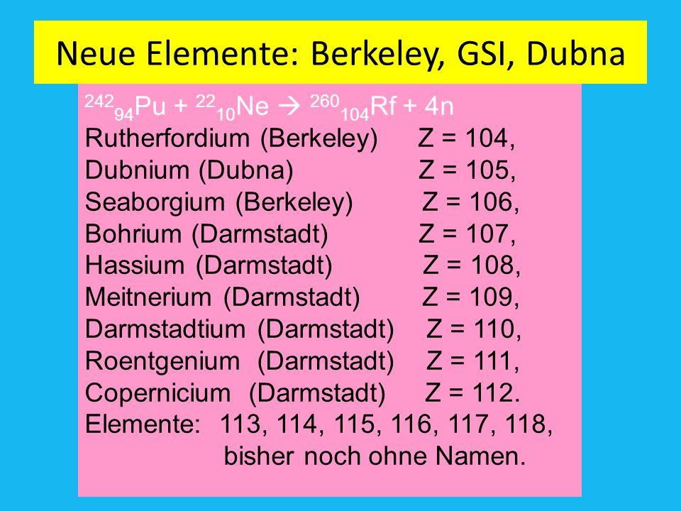 Das Entdecker Team der GSI-Darmstadt. Künstliche supeschwere Elemente jenseits von 94 Plutonium. Amand Fäßlerr, RC RT-TÜ Sigurd Hofmann und Mitarbeite