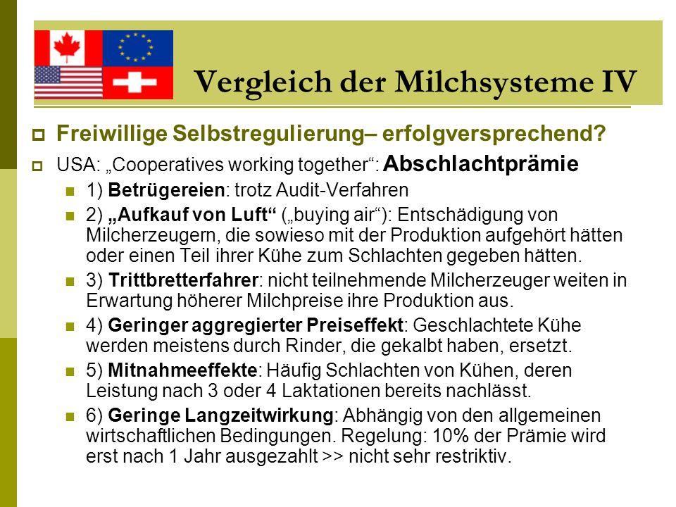 Vergleich der Milchsysteme IV Freiwillige Selbstregulierung– erfolgversprechend? USA: Cooperatives working together: Abschlachtprämie 1) Betrügereien: