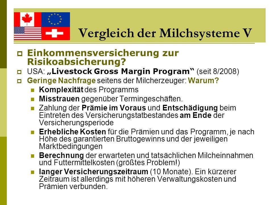 Vergleich der Milchsysteme V Einkommensversicherung zur Risikoabsicherung? USA: Livestock Gross Margin Program (seit 8/2008) Geringe Nachfrage seitens