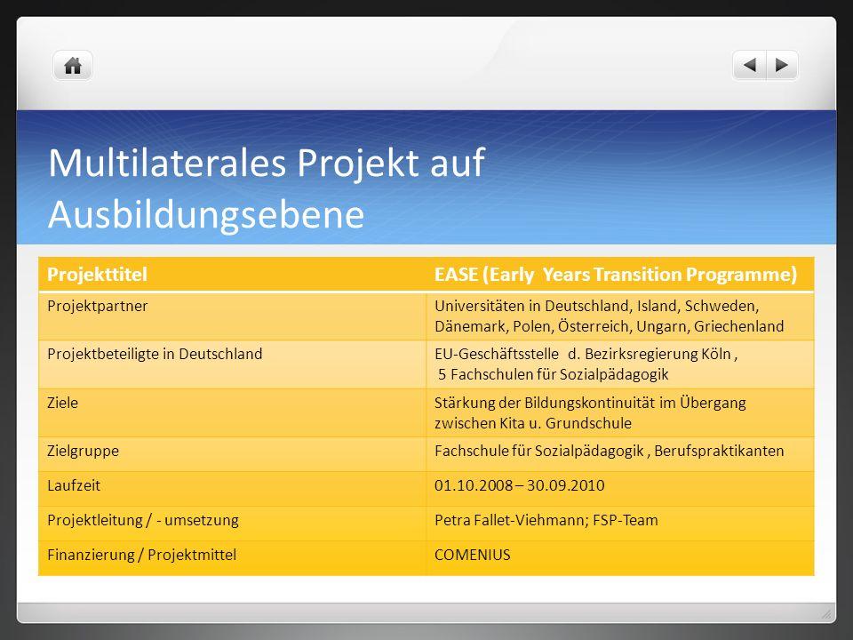 Multilaterales Projekt auf Ausbildungsebene ProjekttitelEASE (Early Years Transition Programme) ProjektpartnerUniversitäten in Deutschland, Island, Sc