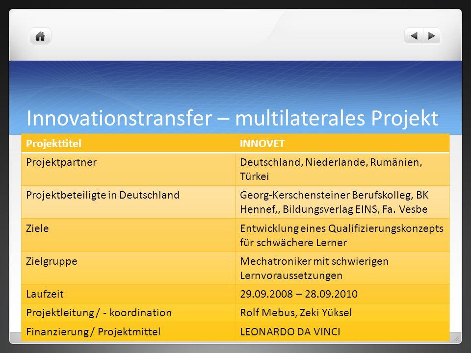 Innovationstransfer – multilaterales Projekt ProjekttitelINNOVET ProjektpartnerDeutschland, Niederlande, Rumänien, Türkei Projektbeteiligte in Deutsch