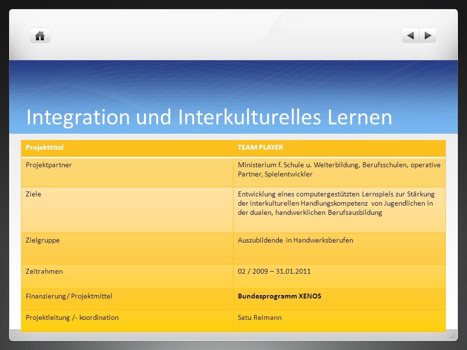 Integration und Interkulturelles Lernen ProjekttitelTEAM PLAYER ProjektpartnerMinisterium f. Schule u. Weiterbildung, Berufsschulen, operative Partner