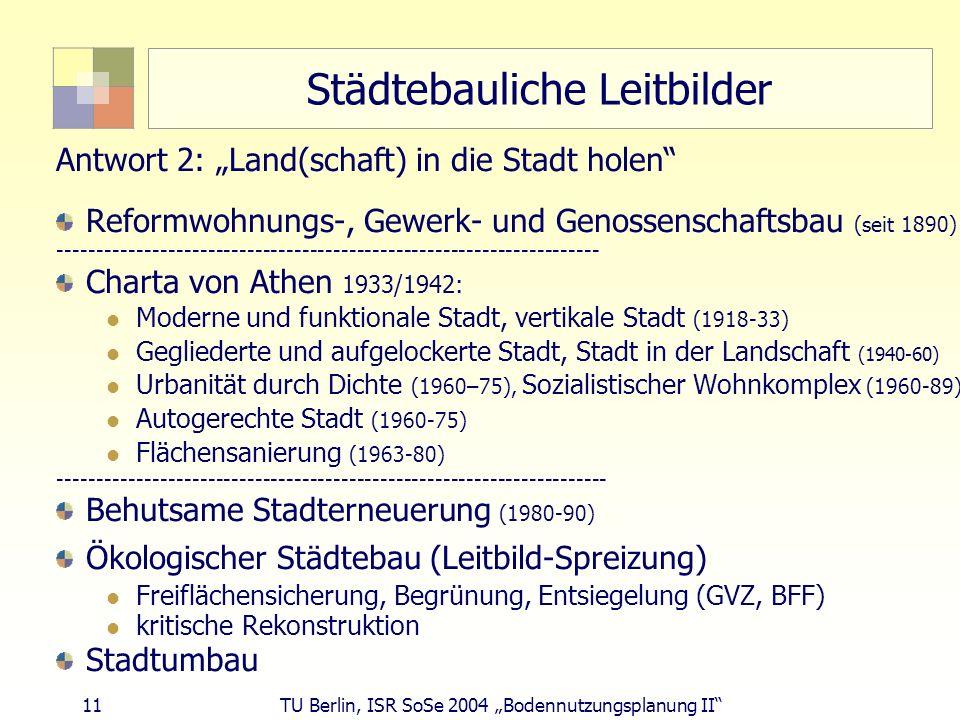 11 TU Berlin, ISR SoSe 2004 Bodennutzungsplanung II Städtebauliche Leitbilder Antwort 2: Land(schaft) in die Stadt holen Reformwohnungs-, Gewerk- und