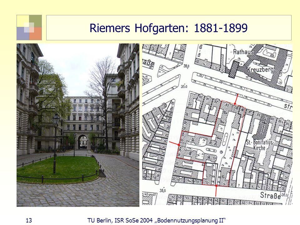 13 TU Berlin, ISR SoSe 2004 Bodennutzungsplanung II Riemers Hofgarten: 1881-1899