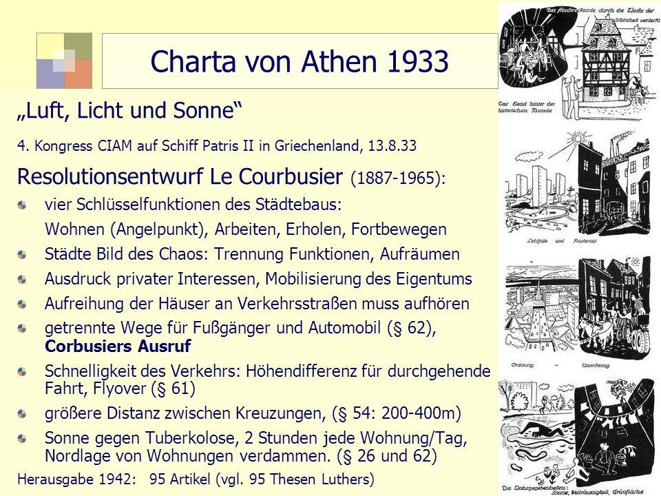 15 TU Berlin, ISR SoSe 2004 Bodennutzungsplanung II Charta von Athen 1933 Luft, Licht und Sonne 4. Kongress CIAM auf Schiff Patris II in Griechenland,
