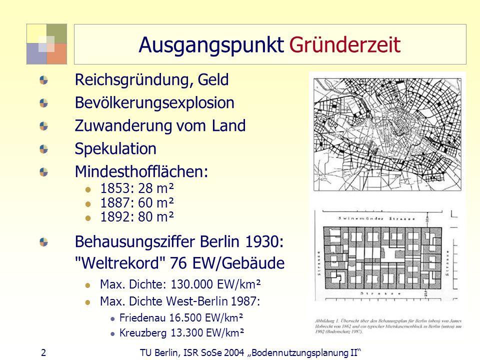 2 TU Berlin, ISR SoSe 2004 Bodennutzungsplanung II Ausgangspunkt Gründerzeit Reichsgründung, Geld Bevölkerungsexplosion Zuwanderung vom Land Spekulati
