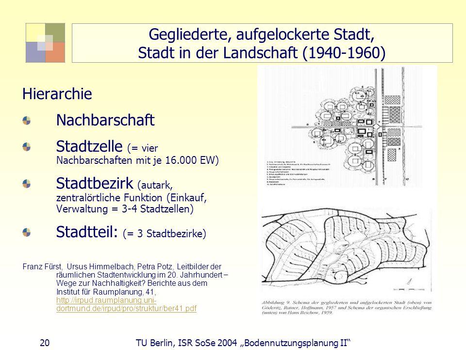 20 TU Berlin, ISR SoSe 2004 Bodennutzungsplanung II Gegliederte, aufgelockerte Stadt, Stadt in der Landschaft (1940-1960) Hierarchie Nachbarschaft Sta