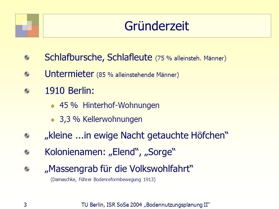 3 TU Berlin, ISR SoSe 2004 Bodennutzungsplanung II Gründerzeit Schlafbursche, Schlafleute (75 % alleinsteh. Männer) Untermieter (85 % alleinstehende M