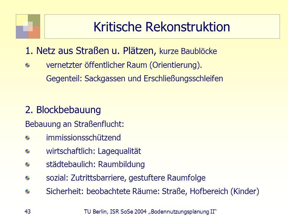 43 TU Berlin, ISR SoSe 2004 Bodennutzungsplanung II Kritische Rekonstruktion 1. Netz aus Straßen u. Plätzen, kurze Baublöcke vernetzter öffentlicher R