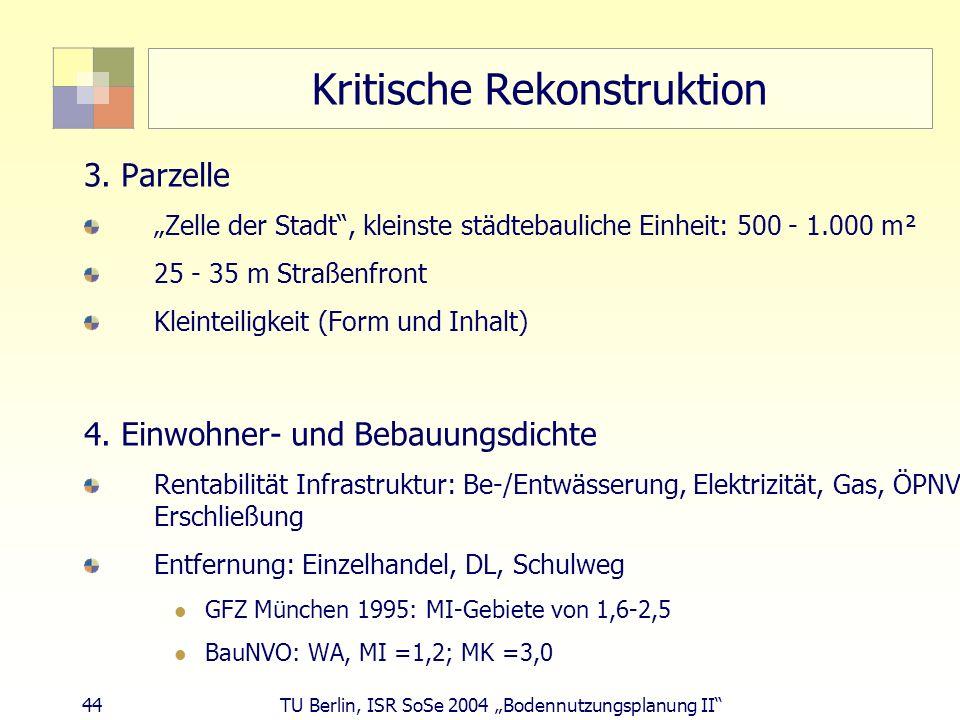44 TU Berlin, ISR SoSe 2004 Bodennutzungsplanung II Kritische Rekonstruktion 3. Parzelle Zelle der Stadt, kleinste städtebauliche Einheit: 500 - 1.000