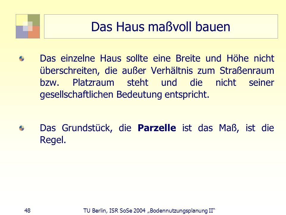 48 TU Berlin, ISR SoSe 2004 Bodennutzungsplanung II Das Haus maßvoll bauen Das einzelne Haus sollte eine Breite und Höhe nicht überschreiten, die auße