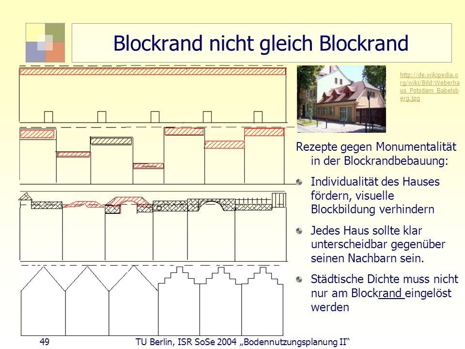 49 TU Berlin, ISR SoSe 2004 Bodennutzungsplanung II Blockrand nicht gleich Blockrand Rezepte gegen Monumentalität in der Blockrandbebauung: Individual