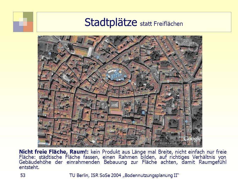 53 TU Berlin, ISR SoSe 2004 Bodennutzungsplanung II Stadtplätze statt Freiflächen Nicht freie Fläche, Raum!: kein Produkt aus Länge mal Breite, nicht