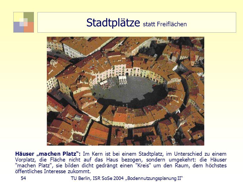 54 TU Berlin, ISR SoSe 2004 Bodennutzungsplanung II Stadtplätze statt Freiflächen Häuser machen Platz: Im Kern ist bei einem Stadtplatz, im Unterschie