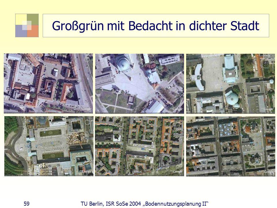 59 TU Berlin, ISR SoSe 2004 Bodennutzungsplanung II Großgrün mit Bedacht in dichter Stadt