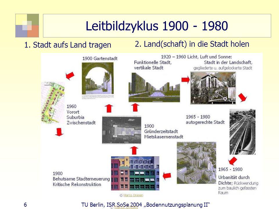 6 TU Berlin, ISR SoSe 2004 Bodennutzungsplanung II Leitbildzyklus 1900 - 1980 © Marco DresenMarco Dresen 1. Stadt aufs Land tragen 2. Land(schaft) in