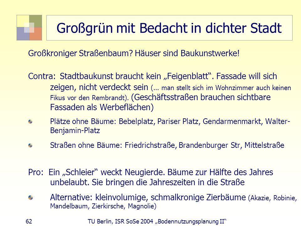 62 TU Berlin, ISR SoSe 2004 Bodennutzungsplanung II Großgrün mit Bedacht in dichter Stadt Großkroniger Straßenbaum? Häuser sind Baukunstwerke! Contra: