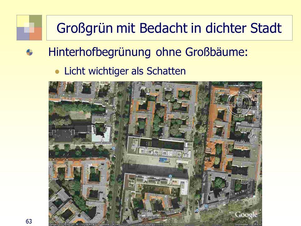 63 TU Berlin, ISR SoSe 2004 Bodennutzungsplanung II Großgrün mit Bedacht in dichter Stadt Hinterhofbegrünung ohne Großbäume: Licht wichtiger als Schat
