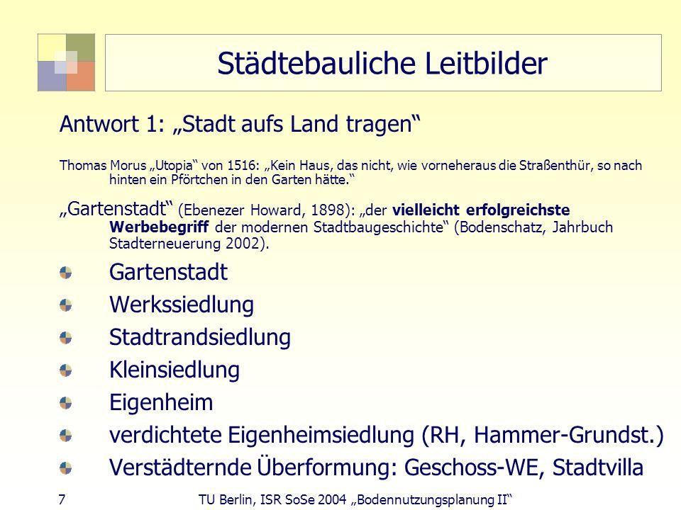 7 TU Berlin, ISR SoSe 2004 Bodennutzungsplanung II Städtebauliche Leitbilder Antwort 1: Stadt aufs Land tragen Thomas Morus Utopia von 1516: Kein Haus