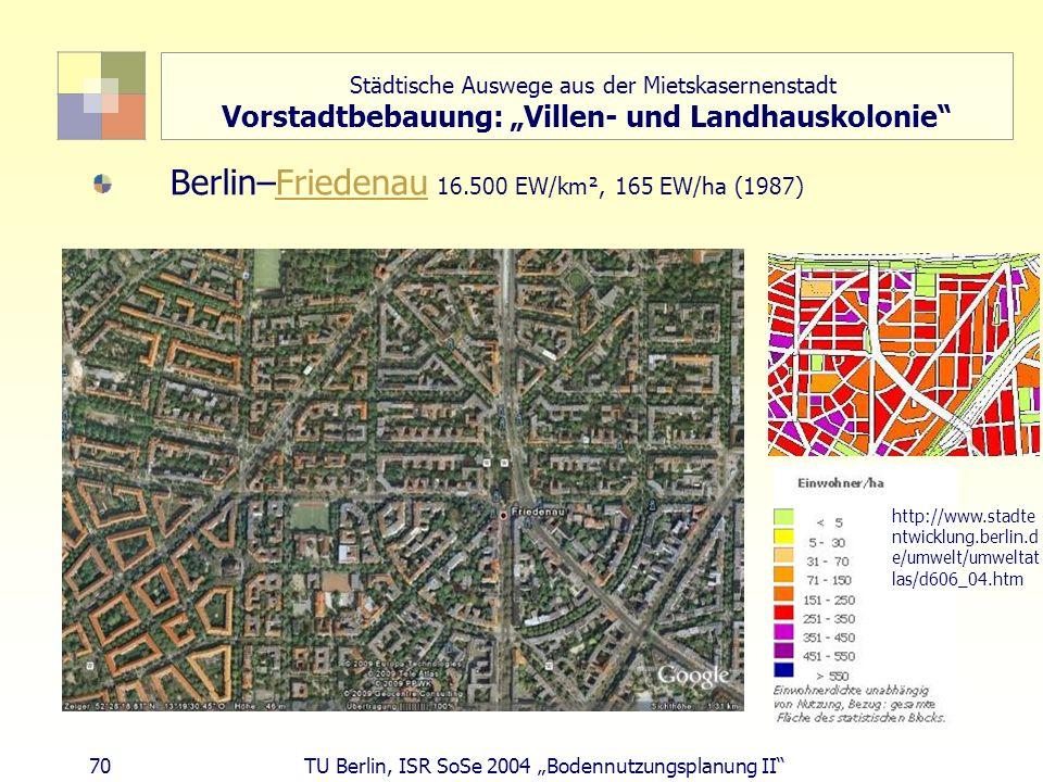 70 TU Berlin, ISR SoSe 2004 Bodennutzungsplanung II Berlin–Friedenau 16.500 EW/km², 165 EW/ha (1987)Friedenau http://www.stadte ntwicklung.berlin.d e/
