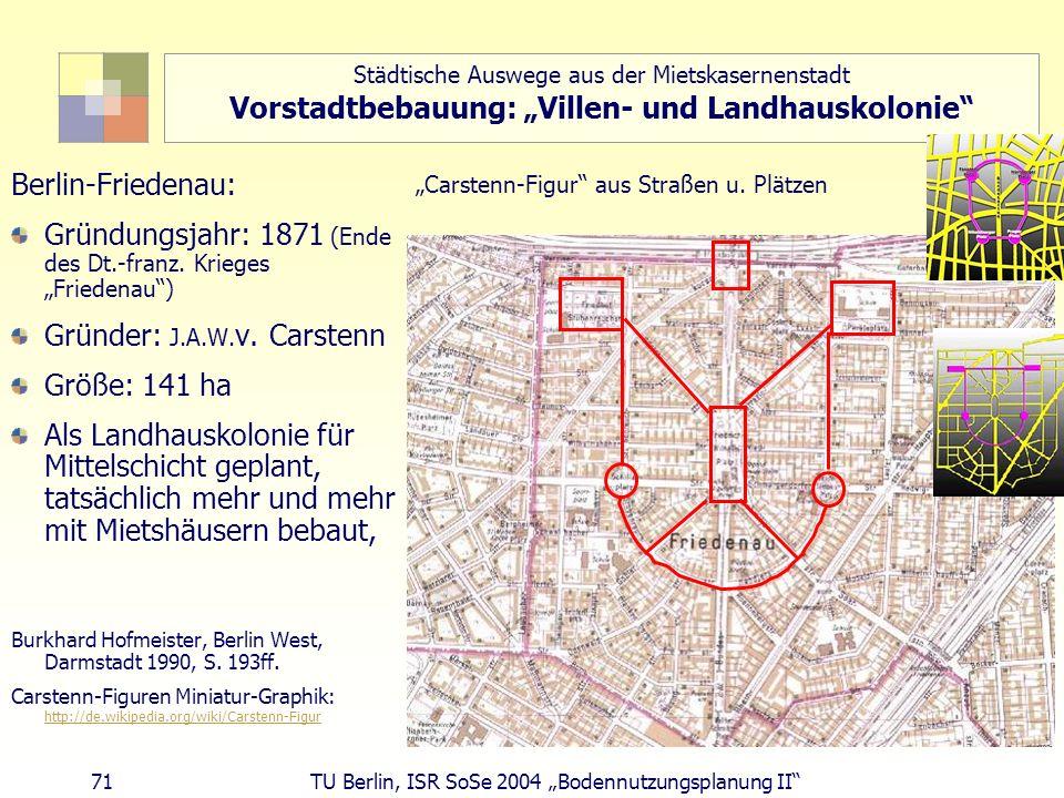 71 TU Berlin, ISR SoSe 2004 Bodennutzungsplanung II Städtische Auswege aus der Mietskasernenstadt Vorstadtbebauung: Villen- und Landhauskolonie Berlin