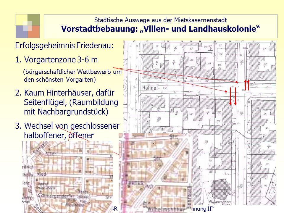 72 TU Berlin, ISR SoSe 2004 Bodennutzungsplanung II Städtische Auswege aus der Mietskasernenstadt Vorstadtbebauung: Villen- und Landhauskolonie Erfolg