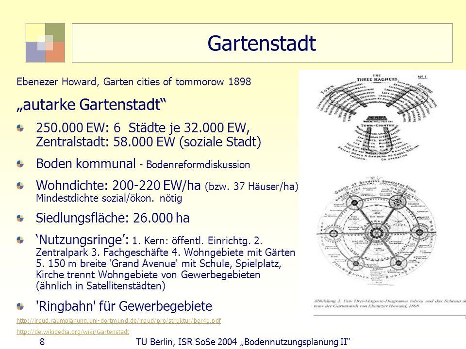 8 TU Berlin, ISR SoSe 2004 Bodennutzungsplanung II Gartenstadt Ebenezer Howard, Garten cities of tommorow 1898 autarke Gartenstadt 250.000 EW: 6 Städt