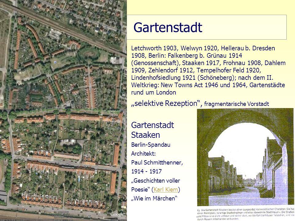 9 TU Berlin, ISR SoSe 2004 Bodennutzungsplanung II Gartenstadt Letchworth 1903, Welwyn 1920, Hellerau b. Dresden 1908, Berlin: Falkenberg b. Grünau 19