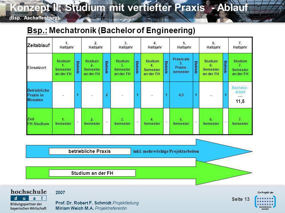 2007 Prof. Dr. Robert F. Schmidt Projektleitung Miriam Weich M.A. Projektreferentin Seite 13 Zeitablauf 1. Halbjahr 2. Halbjahr 3. Halbjahr 4. Halbjah