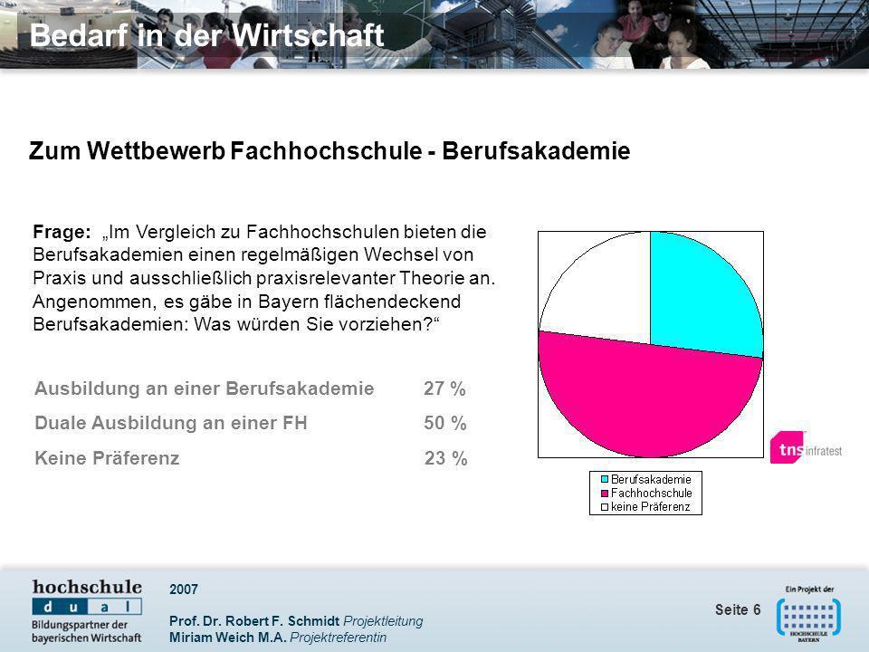 2007 Prof. Dr. Robert F. Schmidt Projektleitung Miriam Weich M.A. Projektreferentin Seite 6 Zum Wettbewerb Fachhochschule - Berufsakademie Ausbildung