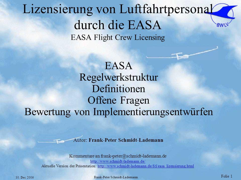 Folie 1 10. Dec 2006 Frank-Peter Schmidt-Lademann Lizensierung von Luftfahrtpersonal durch die EASA EASA Flight Crew Licensing EASA Regelwerkstruktur