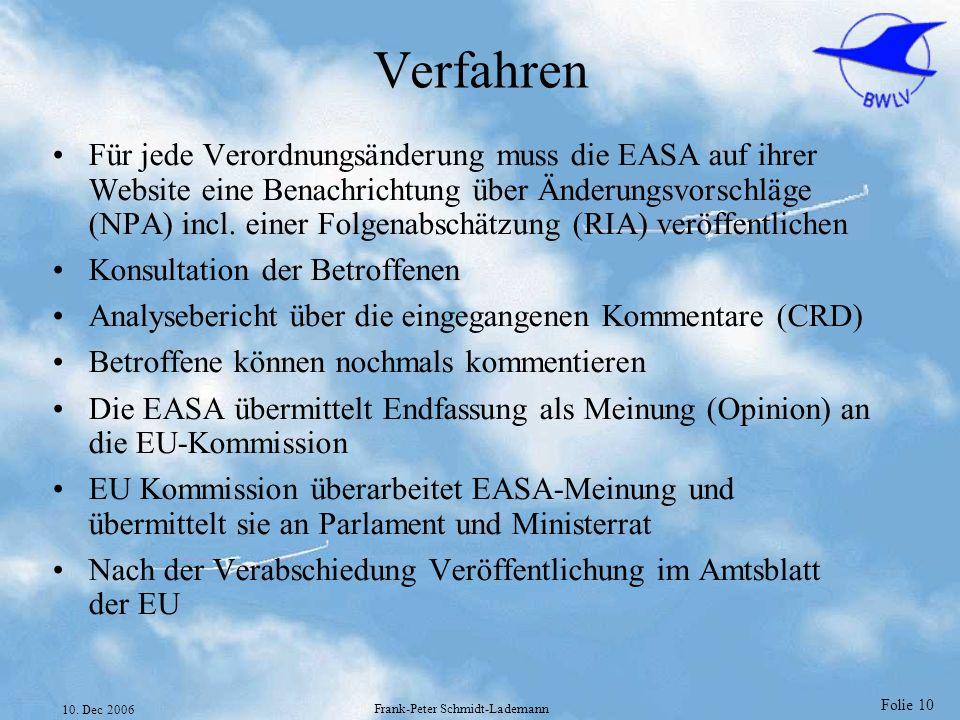 Folie 10 10. Dec 2006 Frank-Peter Schmidt-Lademann Verfahren Für jede Verordnungsänderung muss die EASA auf ihrer Website eine Benachrichtung über Änd