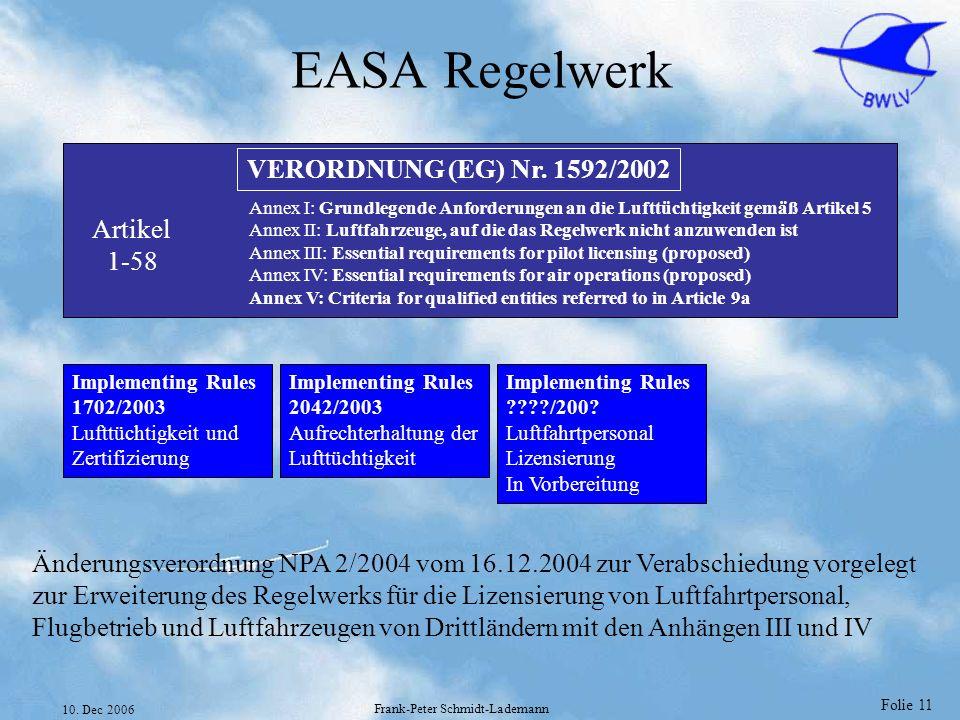 Folie 11 10. Dec 2006 Frank-Peter Schmidt-Lademann EASA Regelwerk VERORDNUNG (EG) Nr. 1592/2002 Artikel 1-58 Annex I: Grundlegende Anforderungen an di