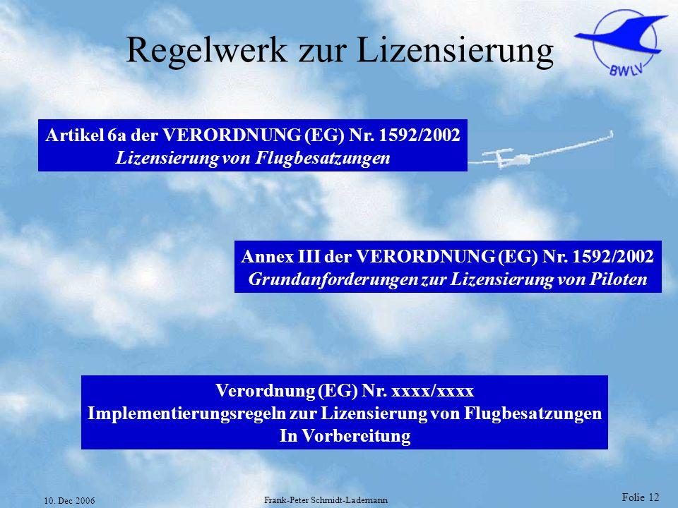 Folie 12 10. Dec 2006 Frank-Peter Schmidt-Lademann Regelwerk zur Lizensierung Artikel 6a der VERORDNUNG (EG) Nr. 1592/2002 Lizensierung von Flugbesatz