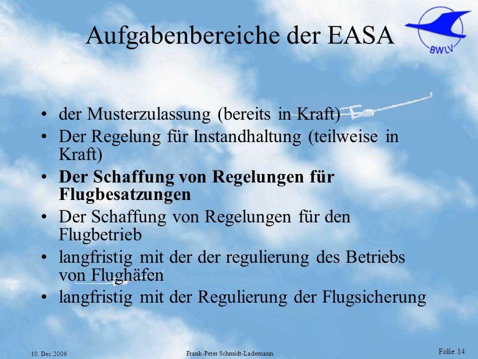 Folie 14 10. Dec 2006 Frank-Peter Schmidt-Lademann Aufgabenbereiche der EASA der Musterzulassung (bereits in Kraft) Der Regelung für Instandhaltung (t
