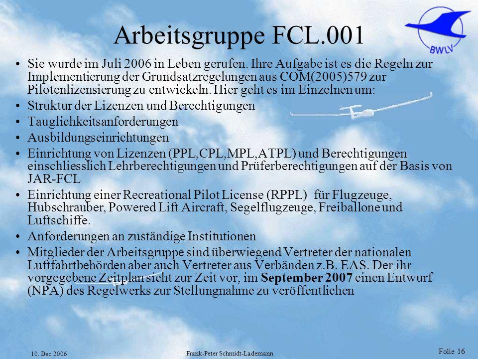 Folie 16 10. Dec 2006 Frank-Peter Schmidt-Lademann Arbeitsgruppe FCL.001 Sie wurde im Juli 2006 in Leben gerufen. Ihre Aufgabe ist es die Regeln zur I