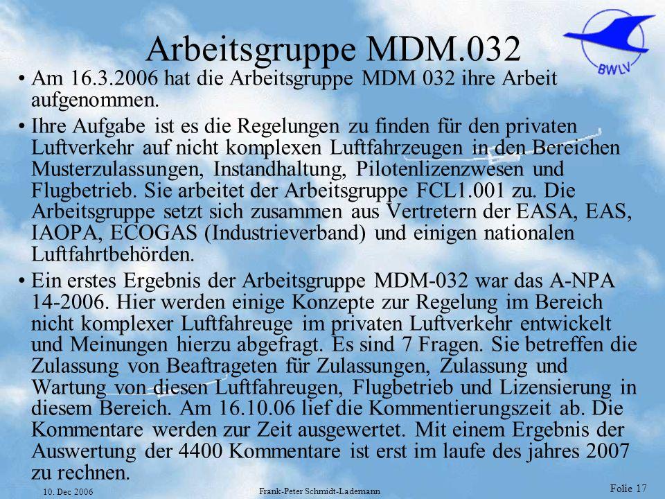 Folie 17 10. Dec 2006 Frank-Peter Schmidt-Lademann Arbeitsgruppe MDM.032 Am 16.3.2006 hat die Arbeitsgruppe MDM 032 ihre Arbeit aufgenommen. Ihre Aufg