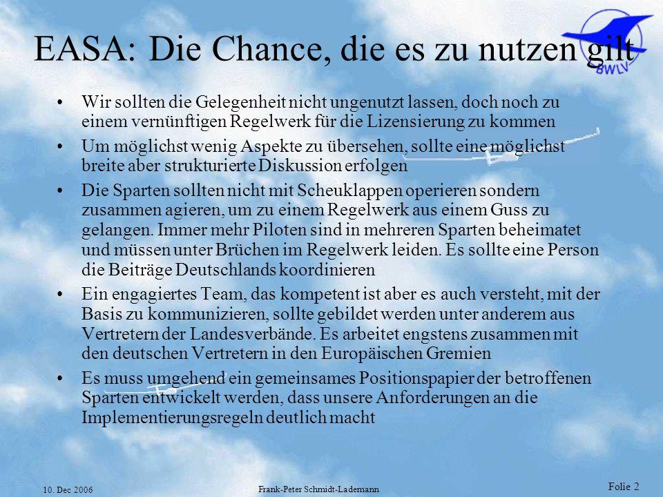 Folie 2 10. Dec 2006 Frank-Peter Schmidt-Lademann EASA: Die Chance, die es zu nutzen gilt Wir sollten die Gelegenheit nicht ungenutzt lassen, doch noc