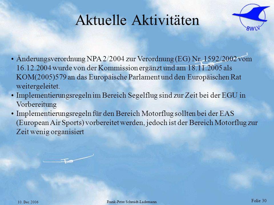 Folie 30 10. Dec 2006 Frank-Peter Schmidt-Lademann Aktuelle Aktivitäten Änderungsverordnung NPA 2/2004 zur Verordnung (EG) Nr. 1592/2002 vom 16.12.200