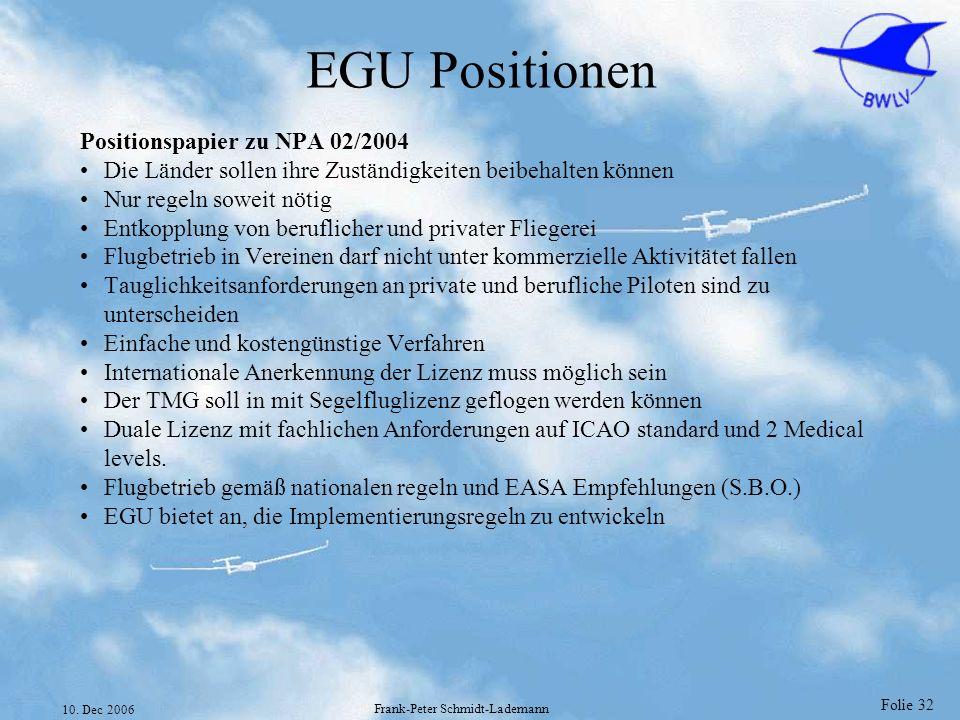 Folie 32 10. Dec 2006 Frank-Peter Schmidt-Lademann EGU Positionen Positionspapier zu NPA 02/2004 Die Länder sollen ihre Zuständigkeiten beibehalten kö