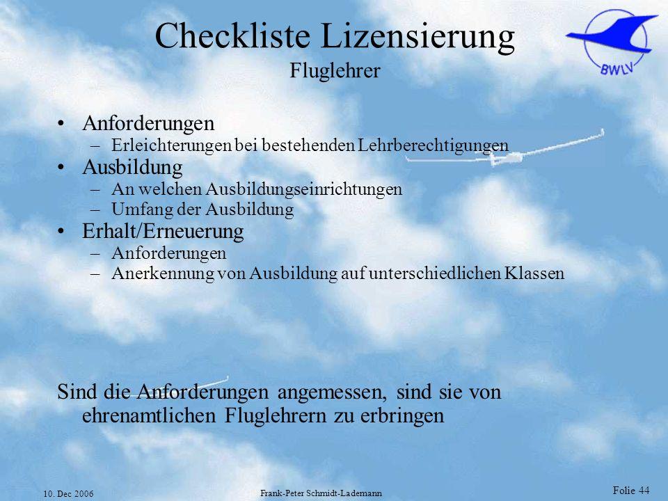 Folie 44 10. Dec 2006 Frank-Peter Schmidt-Lademann Checkliste Lizensierung Fluglehrer Anforderungen –Erleichterungen bei bestehenden Lehrberechtigunge