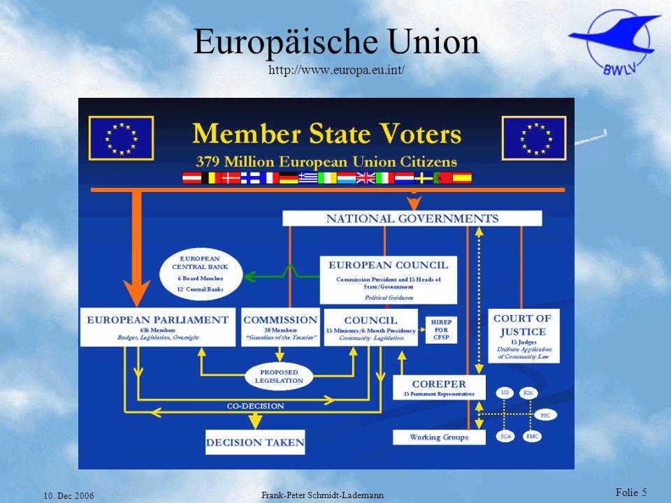 Folie 5 10. Dec 2006 Frank-Peter Schmidt-Lademann Europäische Union http://www.europa.eu.int/