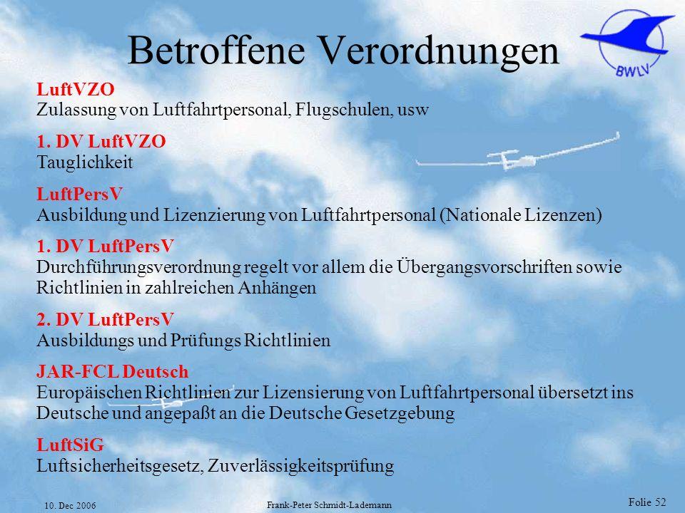 Folie 52 10. Dec 2006 Frank-Peter Schmidt-Lademann Betroffene Verordnungen LuftVZO Zulassung von Luftfahrtpersonal, Flugschulen, usw 1. DV LuftVZO Tau
