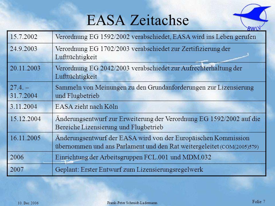 Folie 7 10. Dec 2006 Frank-Peter Schmidt-Lademann EASA Zeitachse 15.7.2002Verordnung EG 1592/2002 verabschiedet, EASA wird ins Leben gerufen 24.9.2003