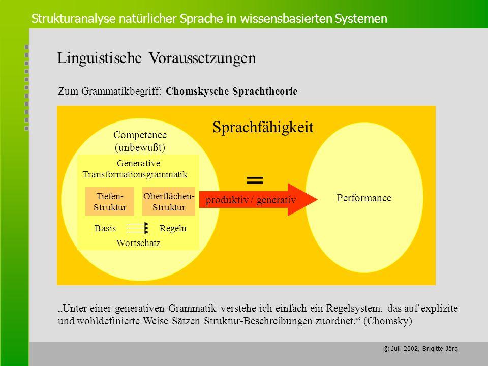 © Juli 2002, Brigitte Jörg Strukturanalyse natürlicher Sprache in wissensbasierten Systemen Linguistische Voraussetzungen Zum Grammatikbegriff: Chomsk