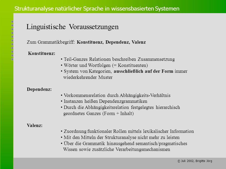 © Juli 2002, Brigitte Jörg Strukturanalyse natürlicher Sprache in wissensbasierten Systemen Linguistische Voraussetzungen Zum Grammatikbegriff: Konsti