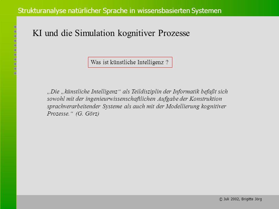 © Juli 2002, Brigitte Jörg Strukturanalyse natürlicher Sprache in wissensbasierten Systemen KI und die Simulation kognitiver Prozesse Was ist künstlic