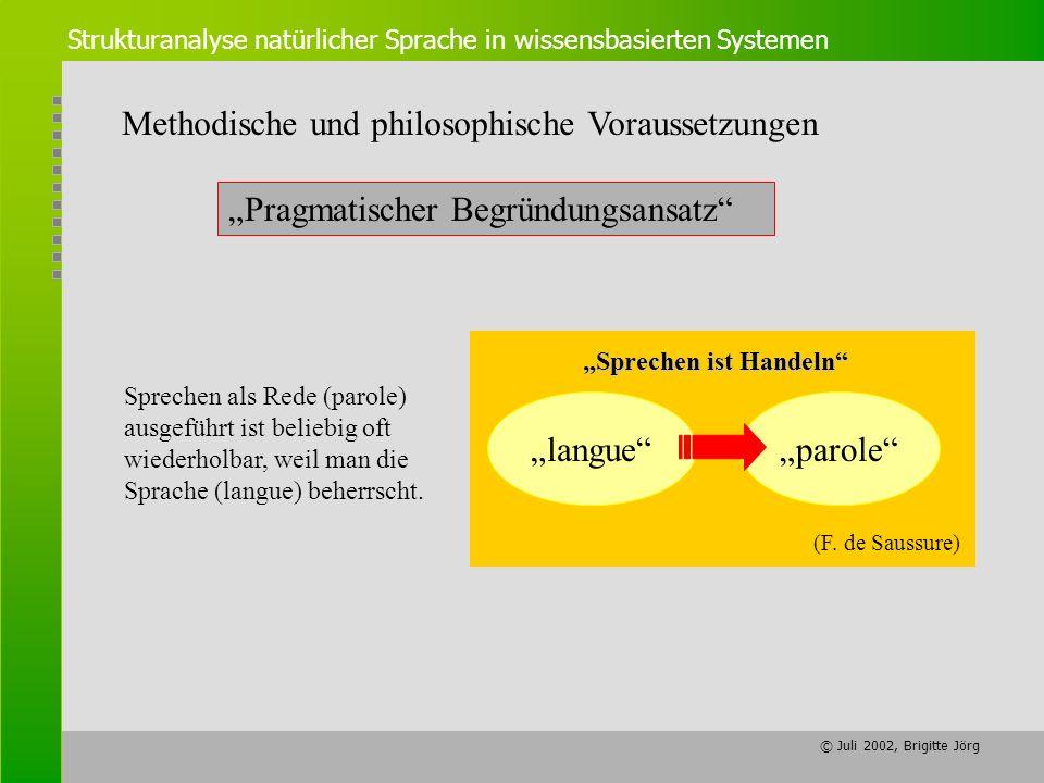 © Juli 2002, Brigitte Jörg Strukturanalyse natürlicher Sprache in wissensbasierten Systemen Methodische und philosophische Voraussetzungen Sprechen is