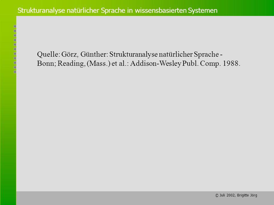 © Juli 2002, Brigitte Jörg Quelle: Görz, Günther: Strukturanalyse natürlicher Sprache - Bonn; Reading, (Mass.) et al.: Addison-Wesley Publ. Comp. 1988
